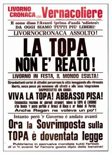Vernacoliere locandina febbraio 1984 la topa non è reato